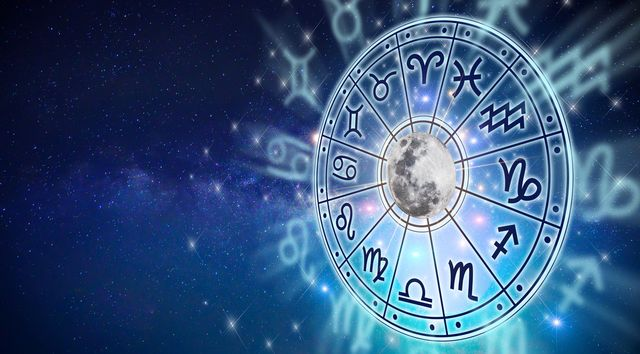 zodiac signs inside of horoscope circle astrology in the sky with many stars and moons  astrology and horoscopes concept