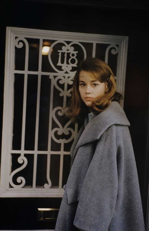 actress jane fonda, standing outside a door in new york city, new york, united states, 1960photo by leonard mccombethe life picture collection via getty images