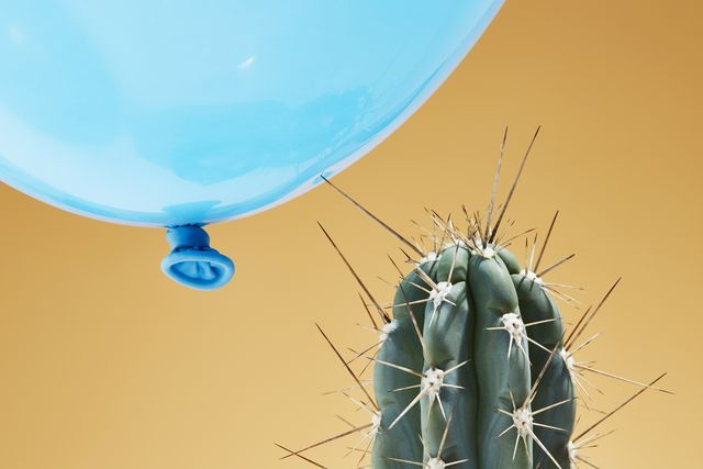a balloon pressing against the spike of a cactus it is about to explode
