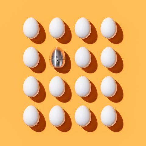 Egg Shaped Timer among White Eggs