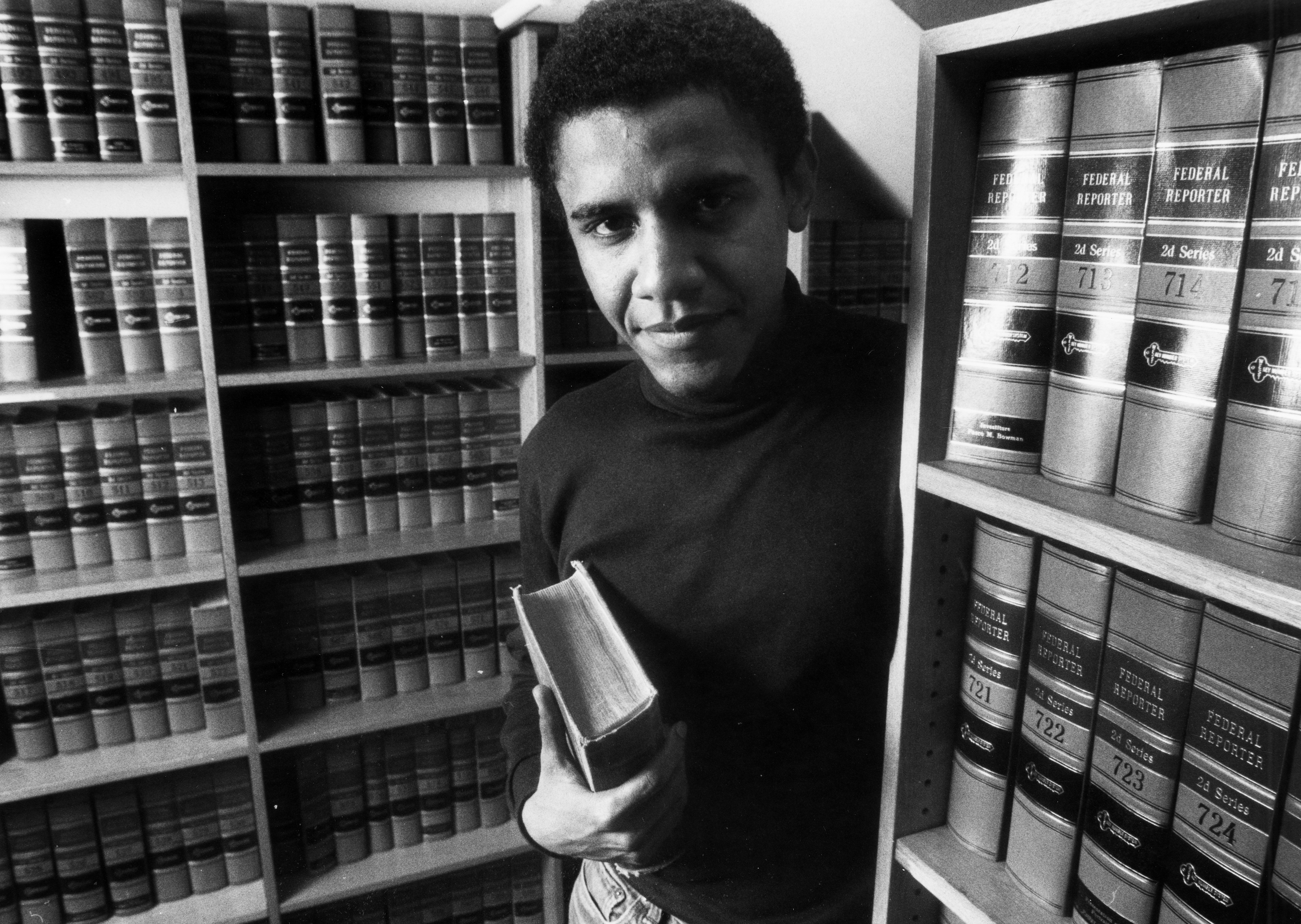 Obama poses in the Harvard Law Review offices on February 5, 1990.