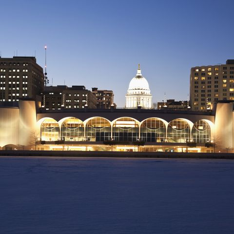 usa, wisconsin, madison, city skyline over lake monona at night mens health boozy cities