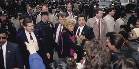 diana, princess of wales  1961   1997  visits the henry street settlement on the lower east side in new york city, february 1989 she is wearing a pink and black suit by catherine walker  photo by jayne fincherprincess diana archivegetty images
