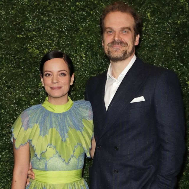 london, england   february 01    lily allen and david harbour arrive at the charles finch  chanel pre bafta party at 5 hertford street on february 1, 2020 in london, england  photo by david m benettdave benettgetty images