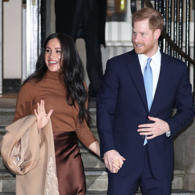 london, england   january 07 prince harry, duke of sussex and meghan, duchess of sussex depart canada house on january 07, 2020 in london, england photo by neil mockfordgc images