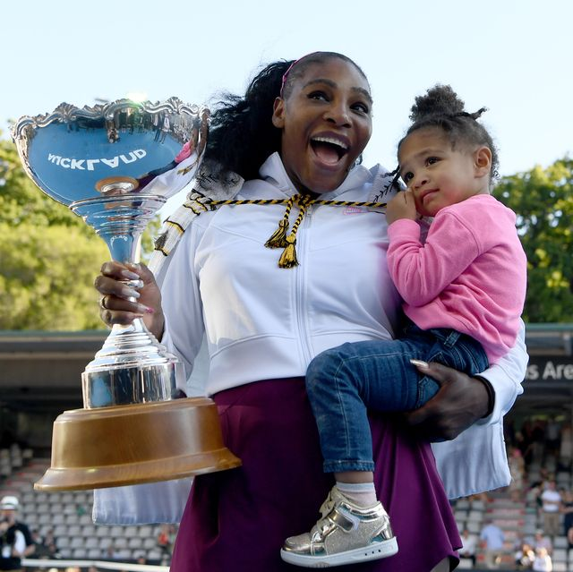 auckland, new zealand   january 12  serena williams of the usa celebrates with daughter alexis olympia after winning the final match against jessica pegula of usa at asb tennis centre on january 12, 2020 in auckland, new zealand photo by hannah petersgetty images