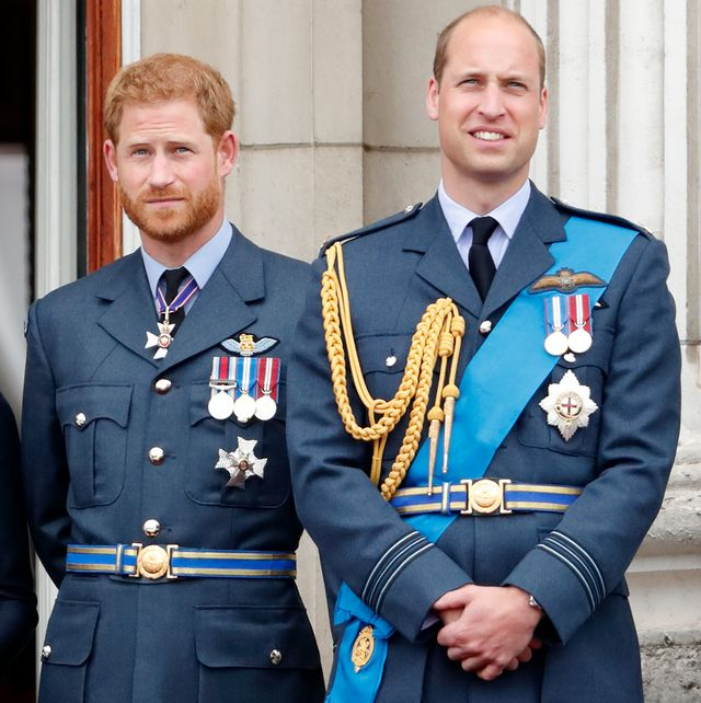 london, united kingdom   july 10 embargoed for publication in uk newspapers until 24 hours after create date and time prince harry, duke of sussex and prince william, duke of cambridge watch a flypast to mark the centenary of the royal air force from the balcony of buckingham palace on july 10, 2018 in london, england the 100th birthday of the raf, which was founded on on 1 april 1918, was marked with a centenary parade with the presentation of a new queens colour and flypast of 100 aircraft over buckingham palace photo by max mumbyindigogetty images