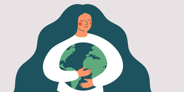 young woman embraces green planet earth with care and love vector illustration of earth day and saving planet environment conservation and energy saving concept