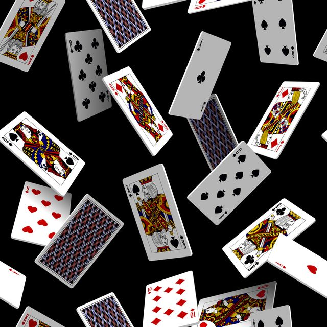 falling playing cards seamless pattern isolated on black background original design in three dimensional style vector illustration