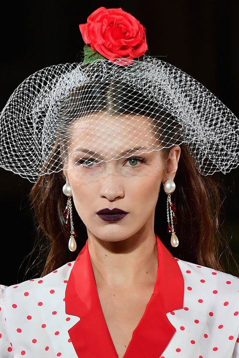 Nose, Lip, Hairstyle, Chin, Red, Pink, Style, Fashion accessory, Collar, Headgear,