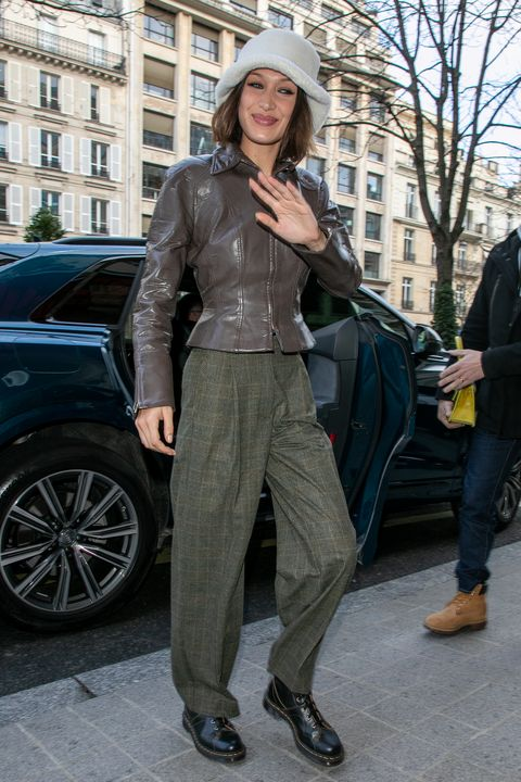paris, france   january 19 model bella hadid is seen on january 19, 2020 in paris, france photo by marc piaseckigc images