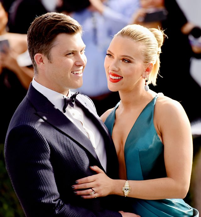 los angeles, california   january 19  colin jost l and scarlett johansson attend the 26th annual screen actorsguild awards at the shrine auditorium on january 19, 2020 in los angeles, california photo by chelsea guglielminogetty images