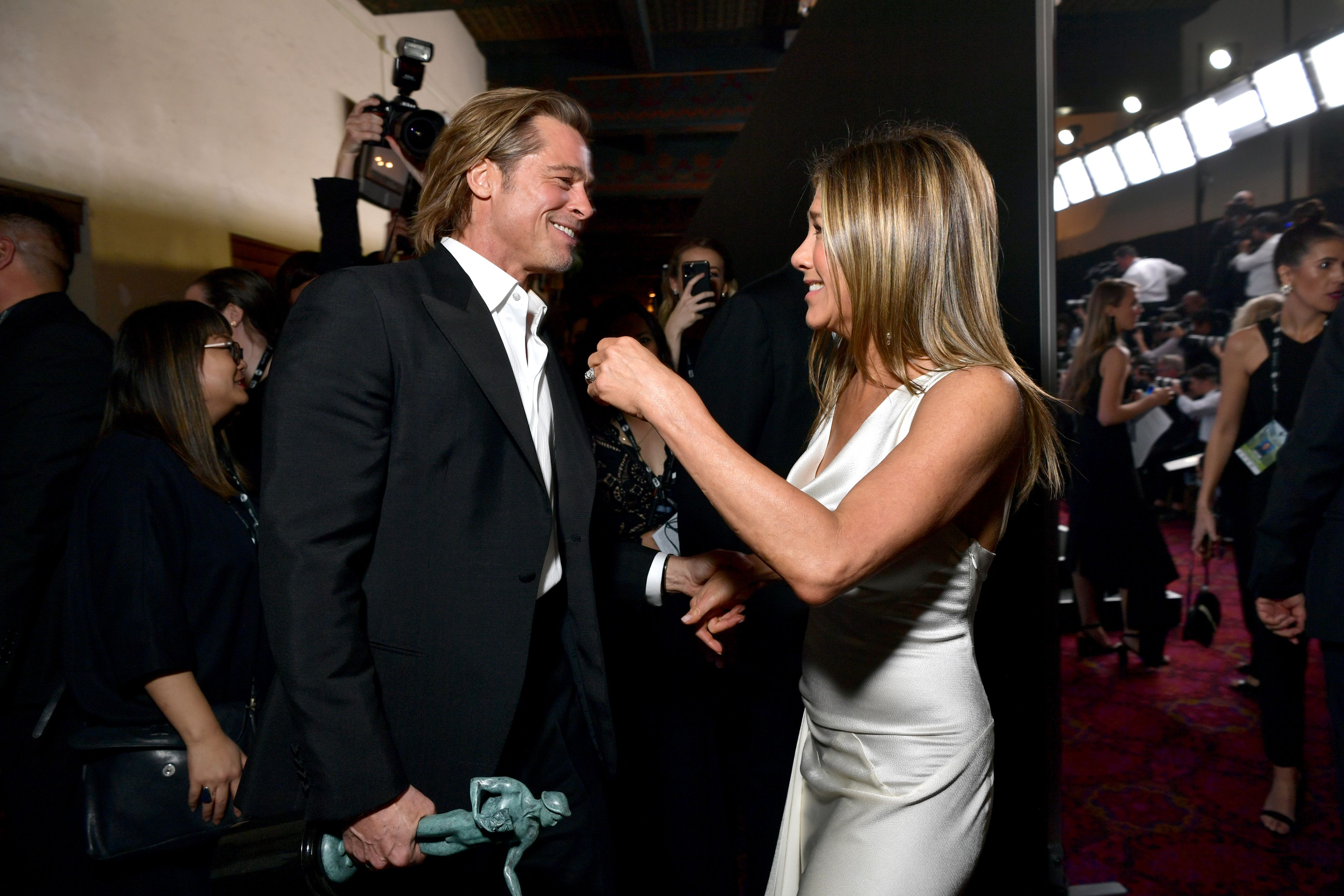 Brad Pitt and Jennifer Aniston Have a Backstage Reunion at the 2020 SAG Awards