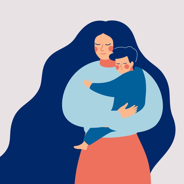 young mother holds her son with care and love happy mothers day concept with mom and small boy vector illustration