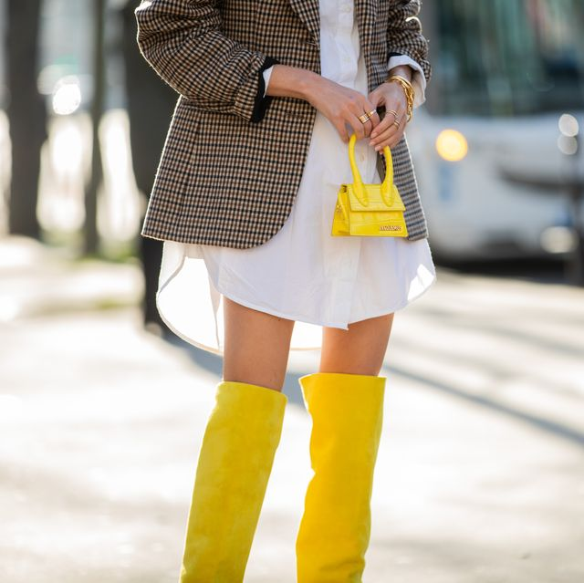 paris, france   january 20 leonie hanne seen wearing button up dress, checkered blazer, yellow mini bag jacquemus and boots outside iris van herpen during paris fashion week   haute couture springsummer 2020 on january 20, 2020 in paris, france photo by christian vieriggetty images