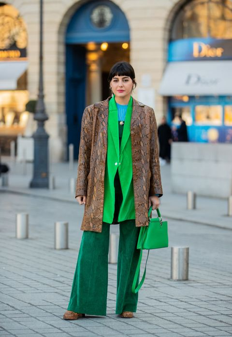 paris, france   january 21 maria bernad wearing brown coat with snake print, green louis vuitton bag, green bag seen during paris fashion week   haute couture springsummer 2020 on january 21, 2020 in paris, france photo by christian vieriggetty images