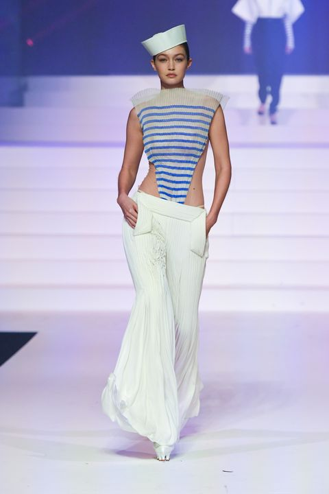 paris, france   january 22 gigi hadid walks the runway during the jean paul gaultier haute couture springsummer 2020 fashion show as part of paris fashion week at theatre du chatelet on january 22, 2020 in paris, france photo by victor virgilegamma rapho via getty images