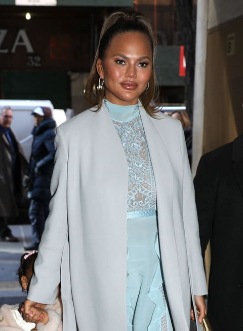 new york, ny   february 19 chrissy teigen and her daughter, luna simone are seen on february 19, 2020 in new york city  photo by jose perezbauer griffingc images