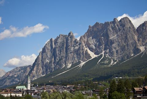 cortina dampezzo, italy   july 04 cityview with the dolomites and the church parrocchiale ss filippo e giacomo on july 04, 2011 in cortina dampezzo, dolomites, italy cortina is famous for skiing in winter and hiking, climbing, mountainbiking in summer  photo by eyeswideopen getty images