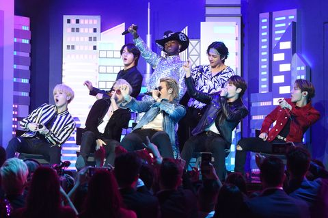 los angeles, california   january 26 lil nas x, billy ray cyrus and bts perform during the 62nd annual grammy awards at staples center on january 26, 2020 in los angeles, california photo by kevin mazurgetty images for the recording academy