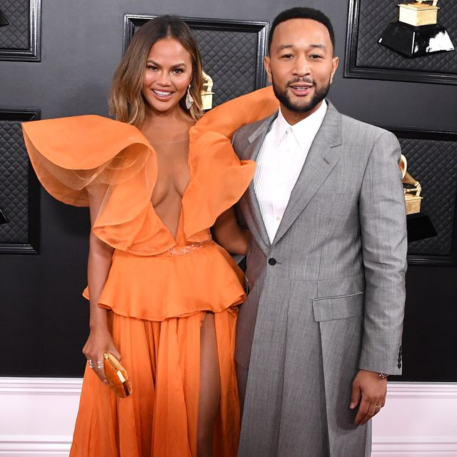 los angeles, california   january 26 chrissy teigen and john legend arrives at the 62nd annual grammy awards at staples center on january 26, 2020 in los angeles, california photo by steve granitzwireimage