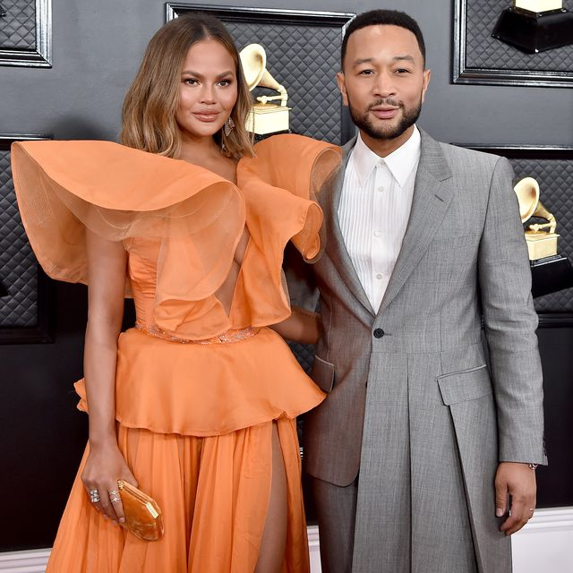 los angeles, california   january 26 chrissy teigen and john legend attend the 62nd annual grammy awards at staples center on january 26, 2020 in los angeles, california photo by axellebauer griffinfilmmagic