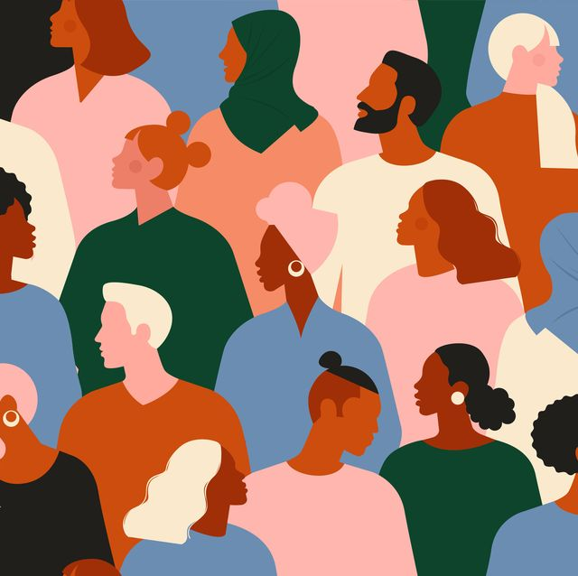 crowd of young and elderly men and women in trendy hipster clothes diverse group of stylish people standing together society or population, social diversity flat cartoon vector illustration