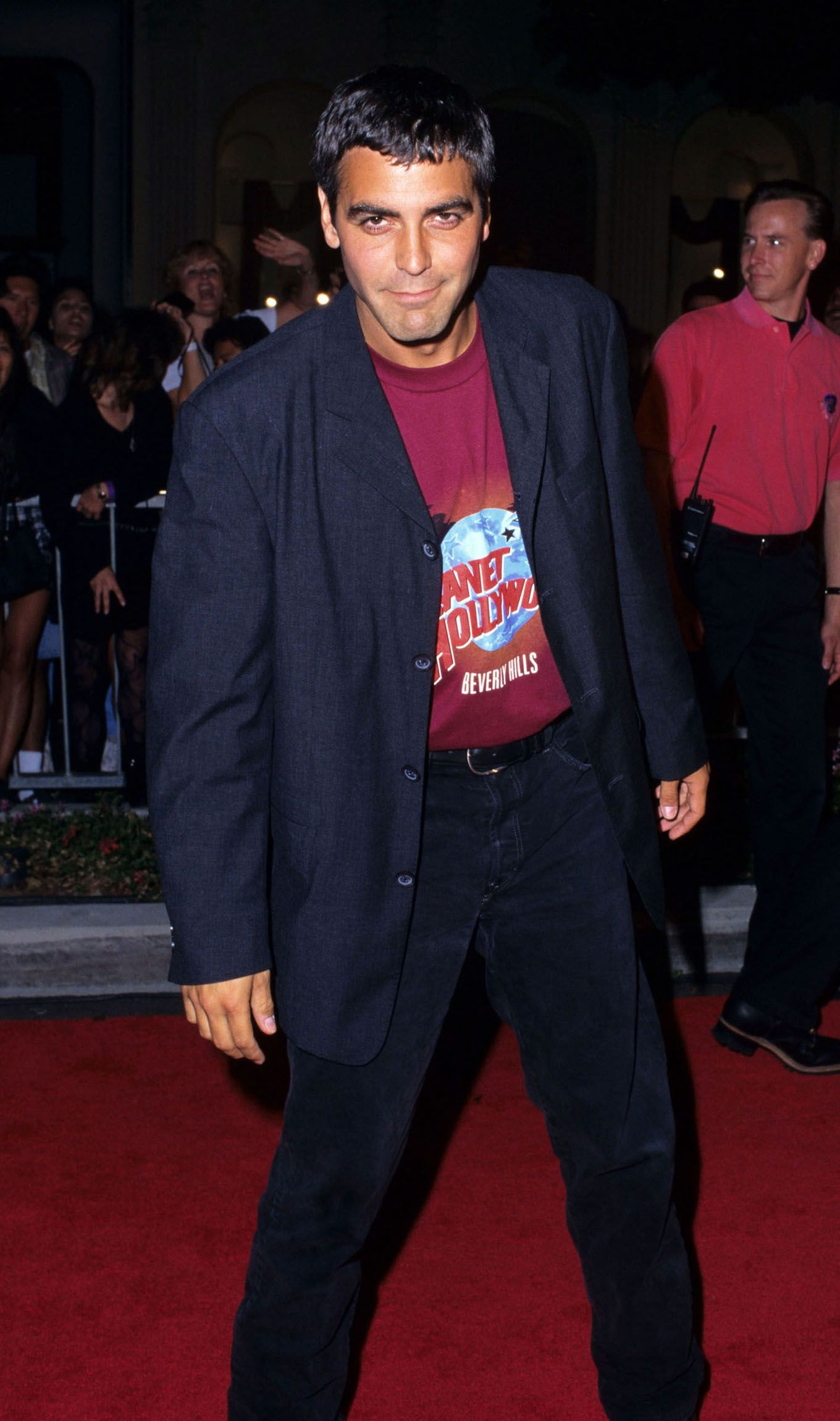 Clooney attends the Planet Hollywood Beverly Hills Grand Opening in 1995.
