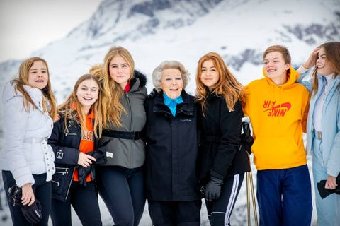 lech, austria   february 25 princess beatrix of the netherlands, princess amalia of the netherlands, princess alexia of the netherlands, princess ariane of the netherlands, countess eloise of the netherlands, count claus casimir of the netherlands and countess leonore of the netherlands during the annual photo call on february 25, 2020 in lech, austria photo by patrick van katwijkgetty images