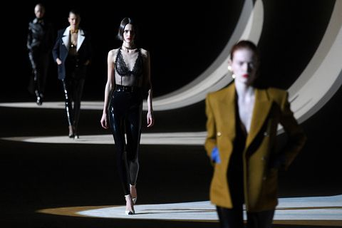models present creations for yves saint laurent during the womens fall winter 2020 2021 ready to wear collection fashion show at the trocadero in paris, on february 25, 2020 photo by anne christine poujoulat  afp photo by anne christine poujoulatafp via getty images