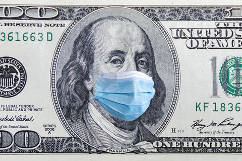 coronavirus wuhan us quarantine, 100 dollar banknote with medical mask the concept of epidemic and protection against coronavrius