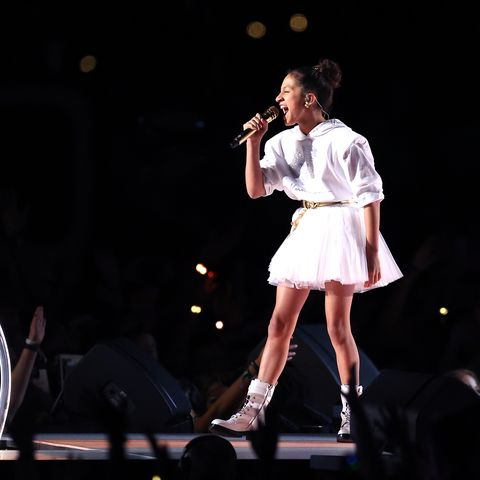 miami, florida   february 02 emme maribel muñiz, daughter of jennifer lopez not in frame performs during the pepsi super bowl liv halftime show at hard rock stadium on february 02, 2020 in miami, florida photo by al bellogetty images
