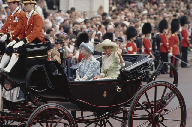 diana, princess of wales  1961   1997 in a carriage with the queen mother during the trooping the colour ceremony at buckingham palace in london, june 1990     photo by jayne fincherprincess diana archivegetty images