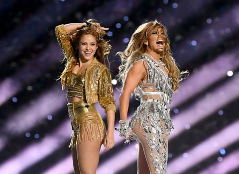 miami, florida   february 02 shakira l and jennifer lopez perform onstage during the pepsi super bowl liv halftime show at hard rock stadium on february 02, 2020 in miami, florida photo by kevin wintergetty images