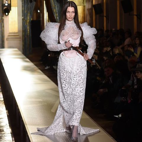Bella Hadid Frees The Nipple In A Wedding Gown During Pfw