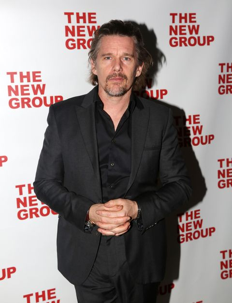 new york, new york   february 04 ethan hawke poses at the opening night party for the new musical bob  carol  ted  alice at green fig urban eatery at yotel on february 4, 2020 in new york city photo by bruce glikaswireimage