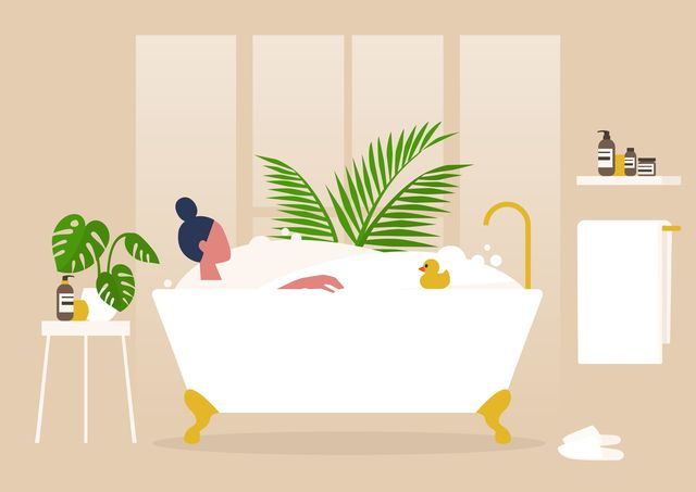 interior design, young female character washing in a clawfoot vintage bathtub full of soap foam, relaxation and body treatment