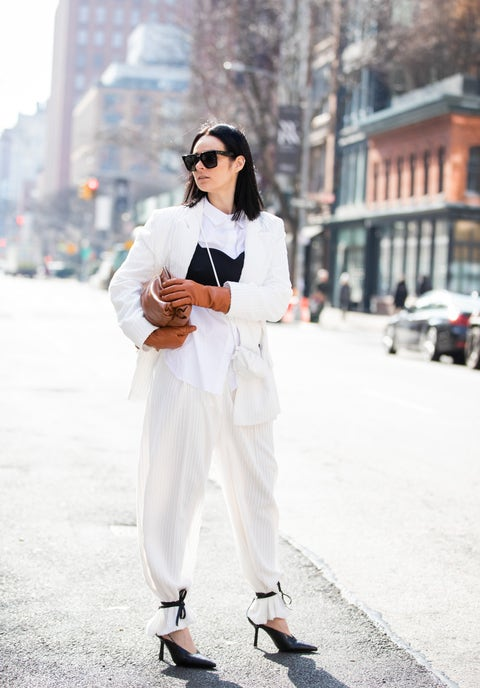 White, Clothing, Street fashion, Fashion, Black-and-white, Jeans, Beauty, Footwear, Shoe, Outerwear,