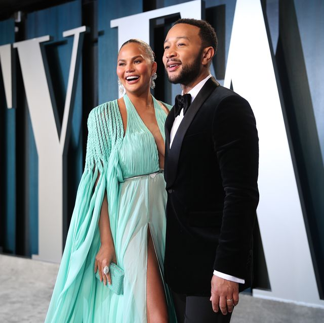 beverly hills, california   february 09 l r chrissy teigen and john legend attend the 2020 vanity fair oscar party hosted by radhika jones at wallis annenberg center for the performing arts on february 09, 2020 in beverly hills, california photo by rich furyvf20getty images for vanity fair