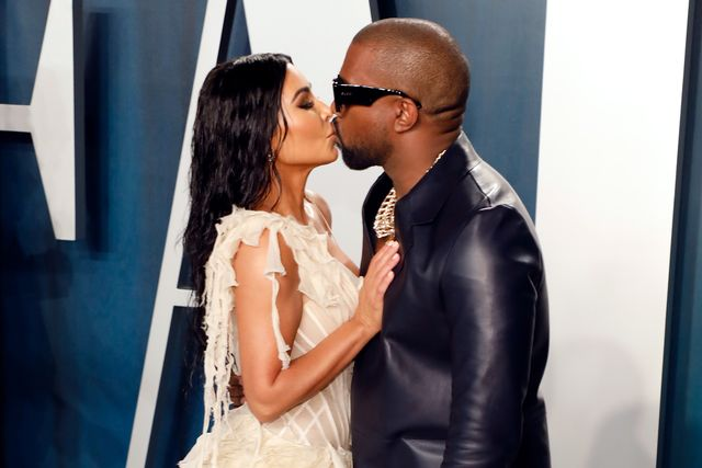 beverly hills, california   february 09 kim kardashian west and kanye west kiss at the 2020 vanity fair oscar party at wallis annenberg center for the performing arts on february 09, 2020 in beverly hills, california photo by taylor hillfilmmagic,
