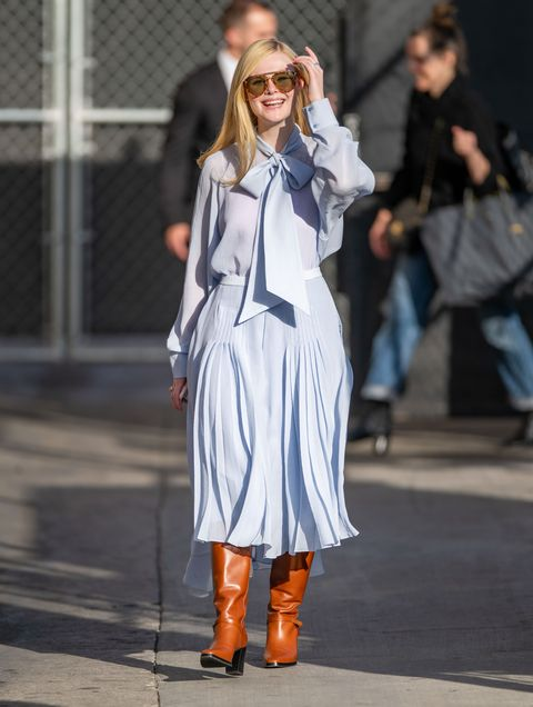 los angeles, ca   march 04 elle fanning is seen at jimmy kimmel live on march 04, 2020 in los angeles, california  photo by rbbauer griffingc images