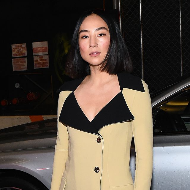 new york, new york   february 10 greta lee arrives to nyfw the shows in a bmw 750i xdrive sedan in new york city on february 06, 2020 for the second consecutive year, bmw is the lead automotive partner at new york's biggest fashion event photo by ilya savenokgetty images for img