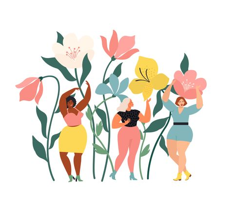 women diverse of different ethnicity are wonder the huge spring wild flowers spring vibes mood international womens day