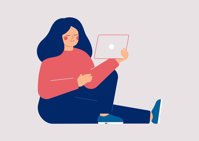 young woman watching video on the tablet pc female user of social media networks girl spending time online at home or at work vector illustration