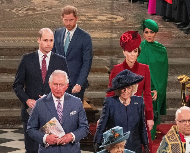 britains prince william, duke of cambridge l, britains prince charles, prince of wales 2nd l, britains prince harry, duke of sussex 3rd l, britains camilla, duchess of cornwall 3rd r, britains catherine, duchess of cambridge 2nd r and britains meghan, duchess of sussex r depart westminster abbey after attending the annual commonwealth service in london on march 9, 2020   britains queen elizabeth ii has been the head of the commonwealth throughout her reign organised by the royal commonwealth society, the service is the largest annual inter faith gathering in the united kingdom photo by phil harris  pool  afp photo by phil harrispoolafp via getty images