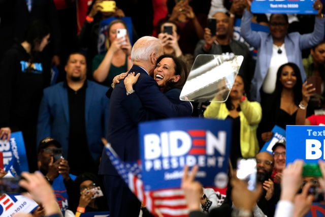 california senator kamala harris c hugs democratic presidential candidate former vice president joe biden after she endorsed him at a campaign rally at renaissance high school in detroit, michigan on march 9, 2020 photo by jeff kowalsky  afp photo by jeff kowalskyafp via getty images