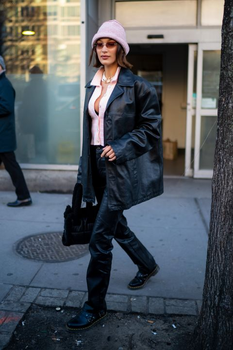 new york, new york   february 14 bella hadid is seen in noho on february 14, 2020 in new york city photo by gothamgc images