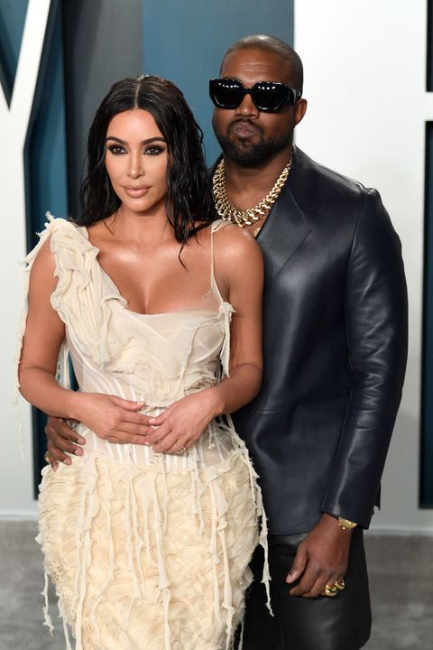 beverly hills, california   february 09 kim kardashian and kanye west attend the 2020 vanity fair oscar party hosted by radhika jones at wallis annenberg center for the performing arts on february 09, 2020 in beverly hills, california photo by karwai tanggetty images
