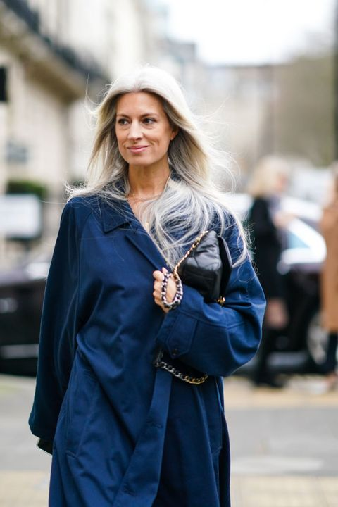 london, england   february 15 sarah harris wears a blue long coat, a black quilted bag, during london fashion week fall winter 2020, on february 15, 2020 in london, england photo by edward berthelotgetty images