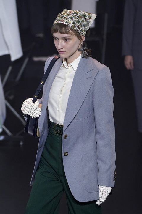 milan, italy   february 19 a model walks the runway at the gucci fallwinter 202021 fashion show during milan fashion week on february 19, 2020 in milan, italy photo by pietro s dapranogetty images for gucci
